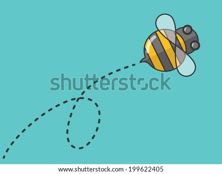 flat design bee flying