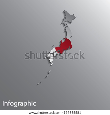 3d country map layout of japan