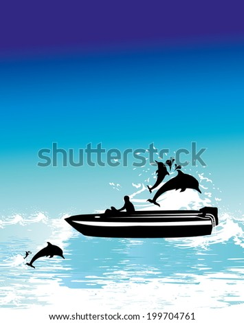 boad and dolphin vector art