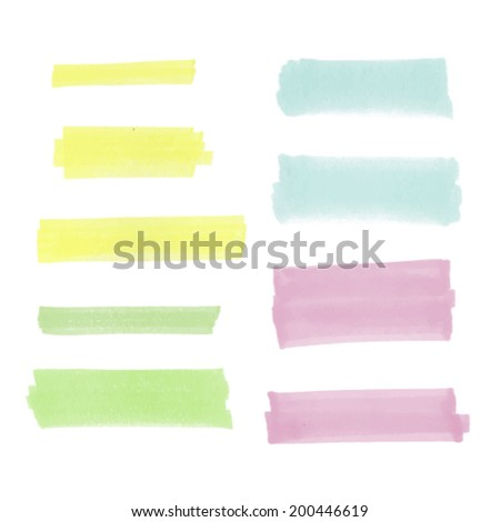 set of highlighter strokes for
