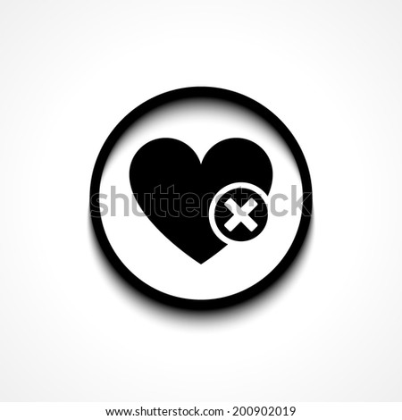 heart sign web icon with delete