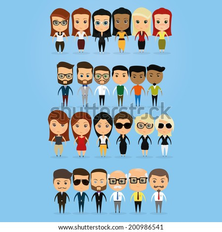 vector set of funny office