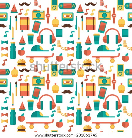 hipster pattern with things on
