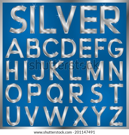 vector english alphabet silver