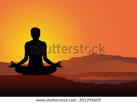 man meditates in the nature