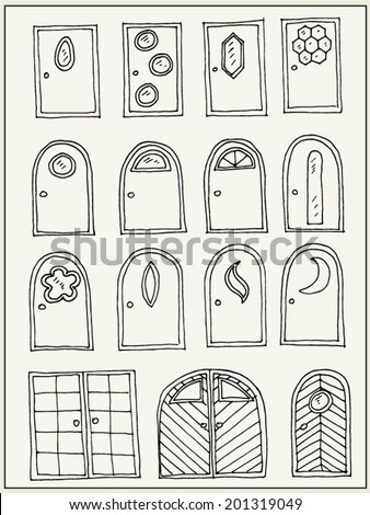 hand drawn doors isolated on