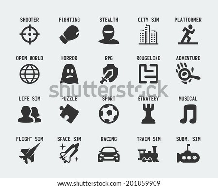 video game genres vector icons