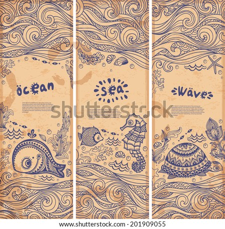 vector set of banners with fish