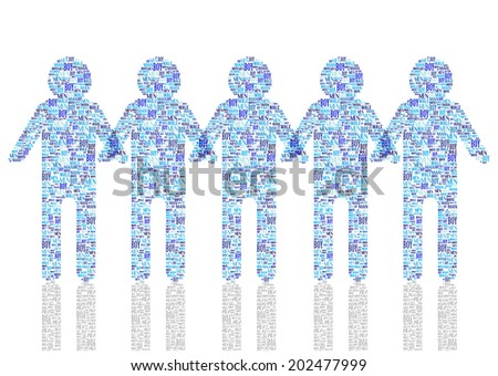 blue vector men silhouettes