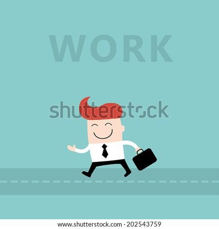 happy businessman go to work