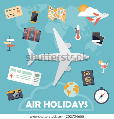 flat design icons  air holidays