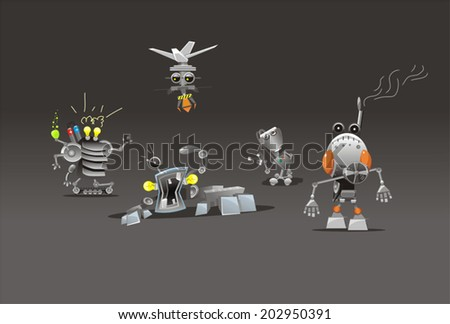 set of funny robots tech