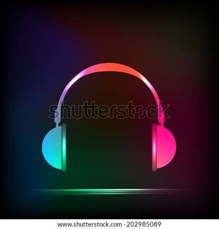 abstract light neon headphones