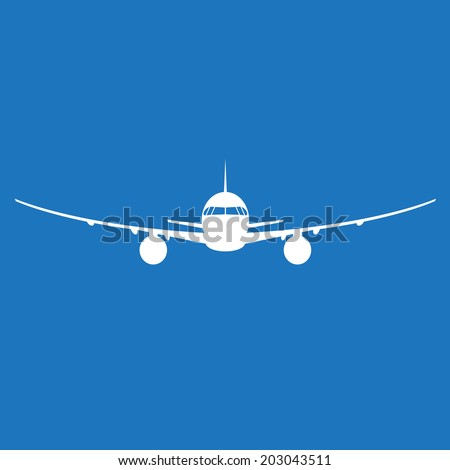 airplane silhouette on blue