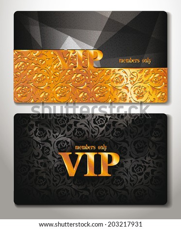 vip cards with gold floral