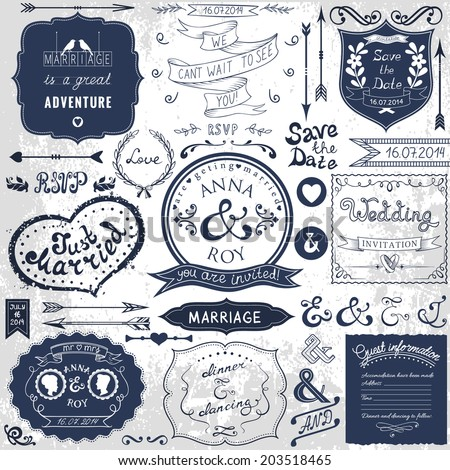 retro hand drawn elements for