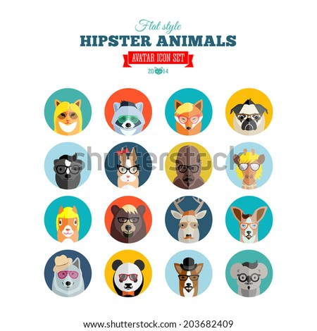 flat style hipster animals
