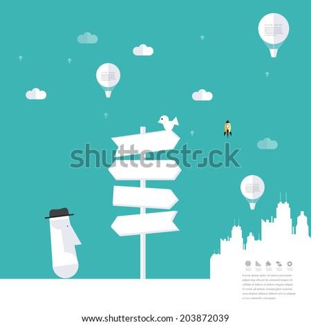 modern road sign land idea
