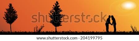 vector silhouette landscape