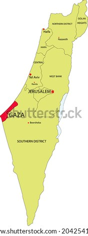 israel vector map with the gaza