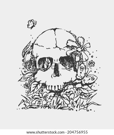 sketched skull in flowers