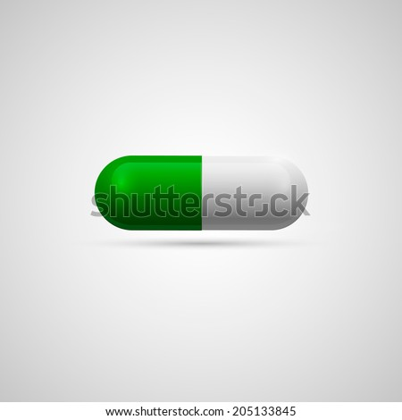 medicine capsule pill in two