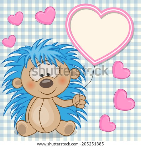 valentine card with hedgehog