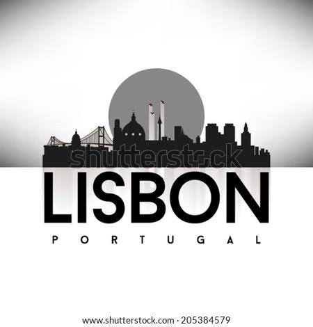 lisbon portugal  black skyline
