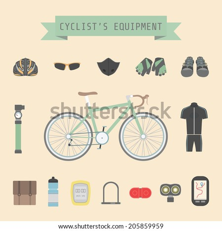 set of bicycle accessories