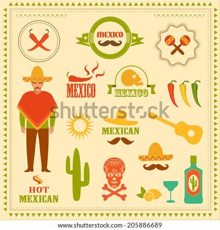vector mexican icons  mexico