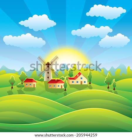 summer village background with