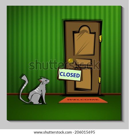 cat at the closed door