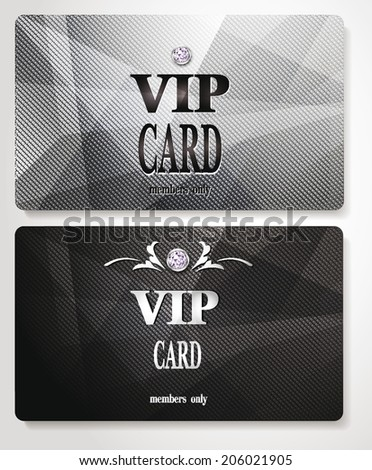 silver vip cards with relief