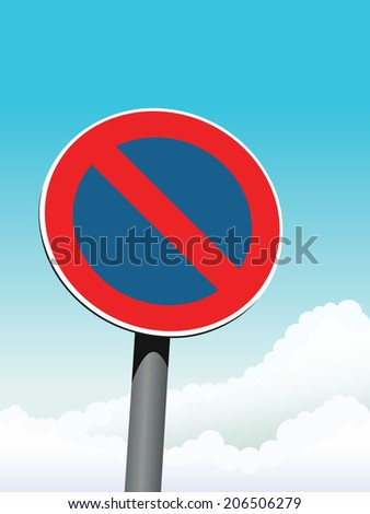 no parking road sign on sky