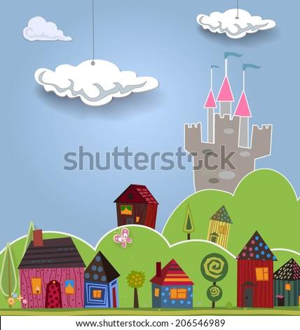 cartoon landscape with cute