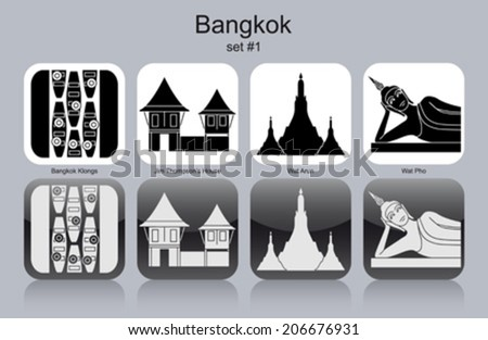 landmarks of bangkok set of