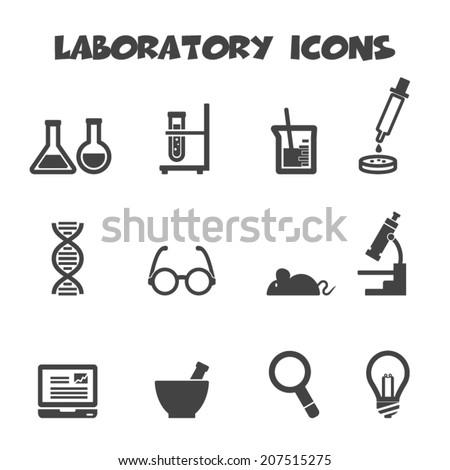 laboratory icons  mono vector