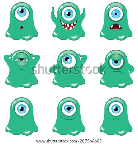 set of funny cartoon green