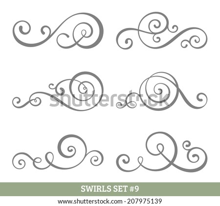 set of six vector flourish