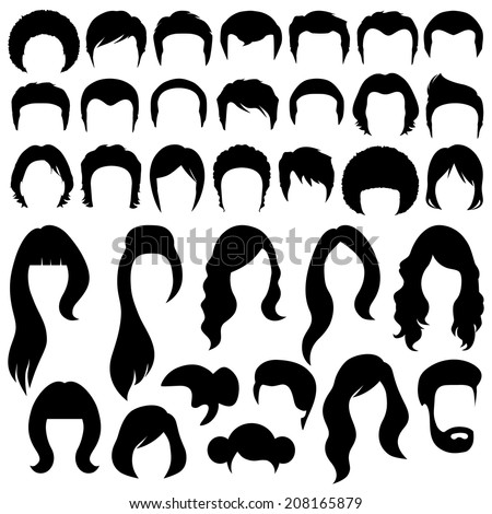 hair silhouettes  woman and man