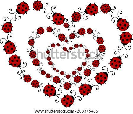 triple heart of ladybirds