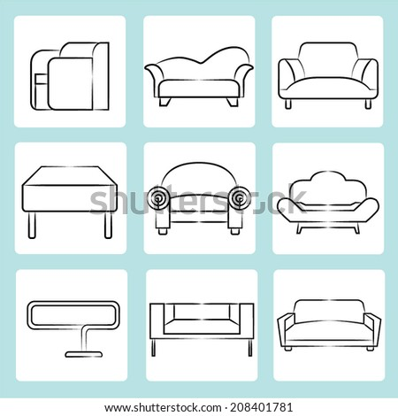 sofa icons  sketch sofa  chair