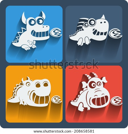 set of dragon icons vector