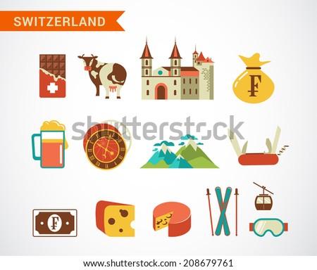 switzerland   vector icons