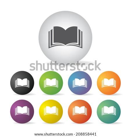 vector book  button icon set