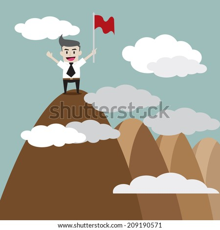 businessman standing on the top