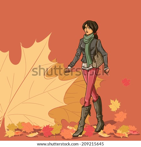 walking slender young beautiful