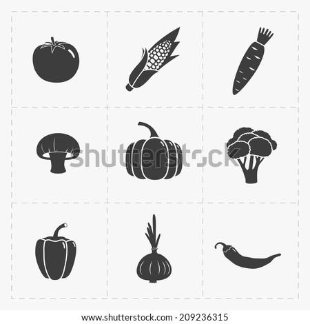 vegetable black icon set on
