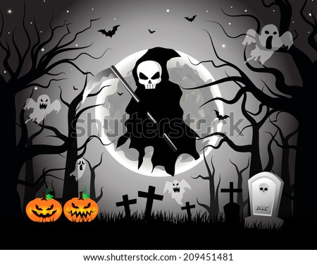 vector illustration of scary