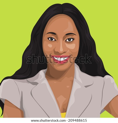 vector of a smiling lady